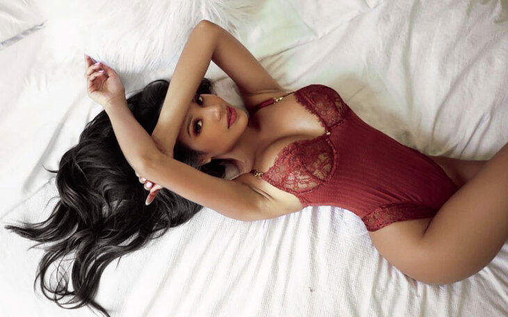 beautiful latina girlfriend in lingerie